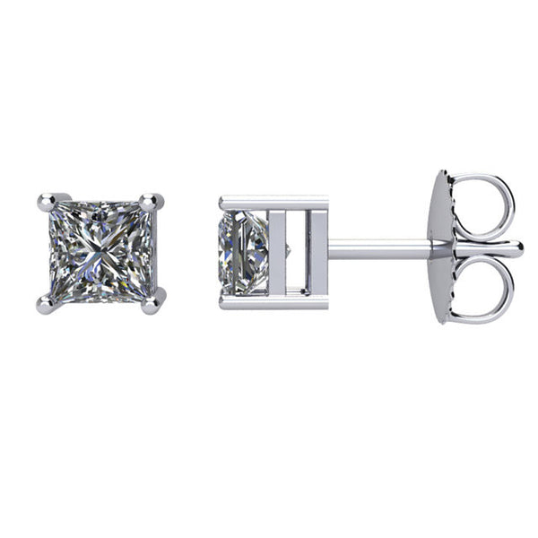 Beautiful 3/4 Carat Total Weight Square Cut Diamond Stud Earrings 14k White Gold