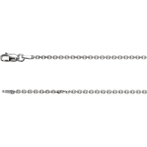 "14k White Gold 20"" Cable Chain - 1.75 mm"