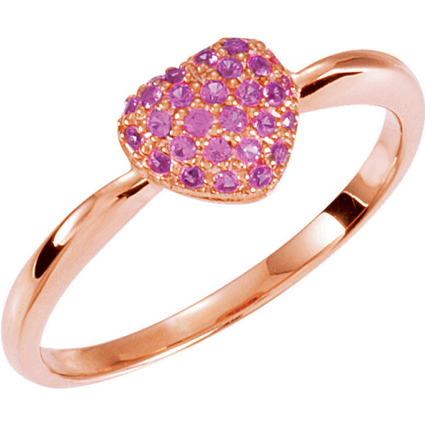 Rose Gold Plated Pink Sapphire Heart Ring