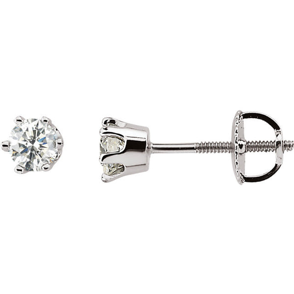 .50 Carat Diamond Stud Earrings in 14k White Gold - Color: G/H, Clarity: I1