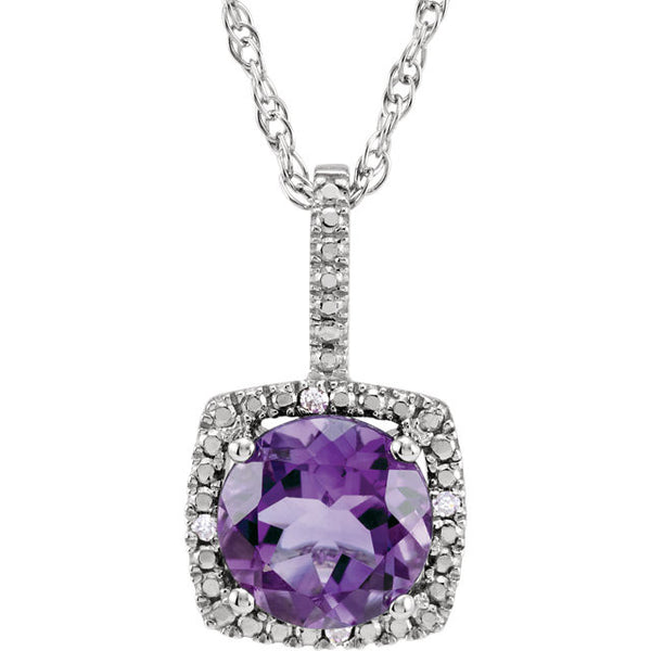 Sterling Silver Pendant Necklace w/ Round Amethyst (1.25 Carat) + Halo Style Diamond Accents