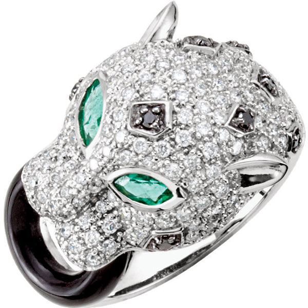 14K White Gold Emerald, Diamond + Black Onyx Panther Ring