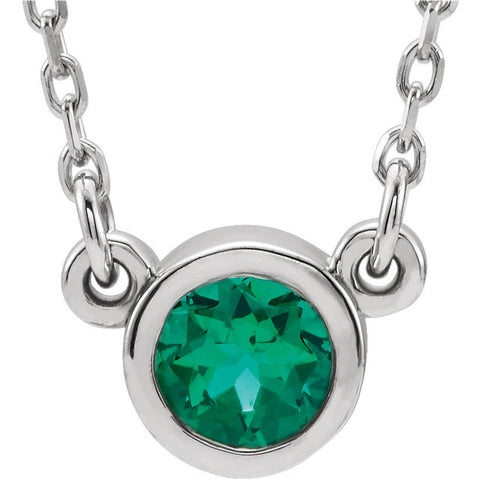"May Birthstone Jewelry: Imitation Emerald 18"" Necklace"