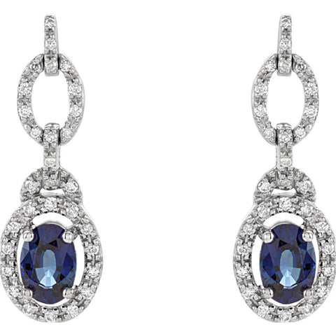 (0.25 Carat) 14K White Gold Oval Blue Sapphire Diamond Earrings