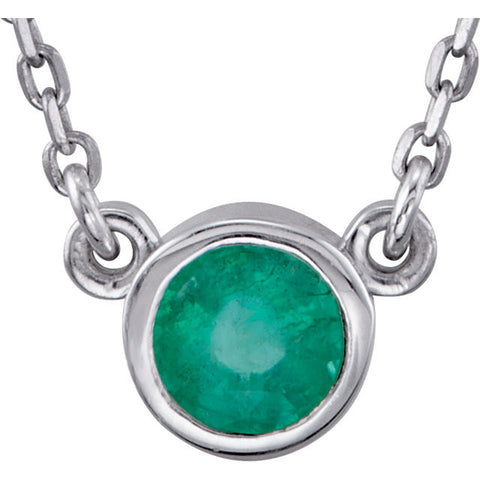"May Birthstone Jewelry: Genuine Emerald 18"" Necklace"