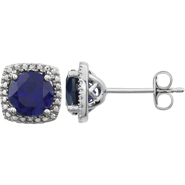 14K White Gold and Created Blue Sapphire Stud Earrings with 1/10 CTW Diamonds