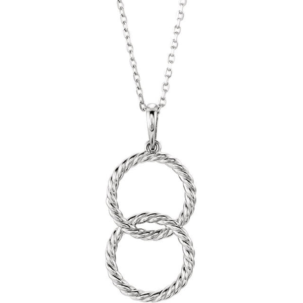14K White Gold Interlocking Circle Rope Necklace