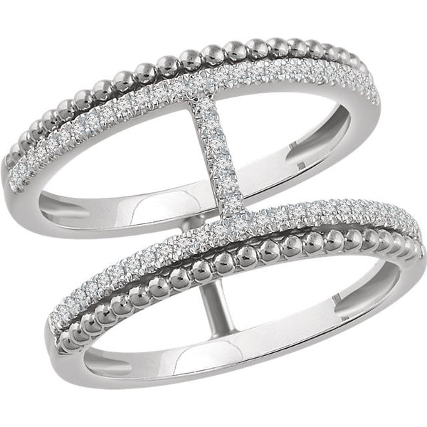14k White Gold 1/5 Ctw Diamond Negative Space Ring (60 Diamonds!)