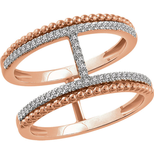 14k Rose Gold 1/5 Ctw Diamond Negative Space Ring (60 Diamonds!)