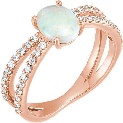 14K Rose Gold Genuine Opal and 3/8 CTW Diamond Ring