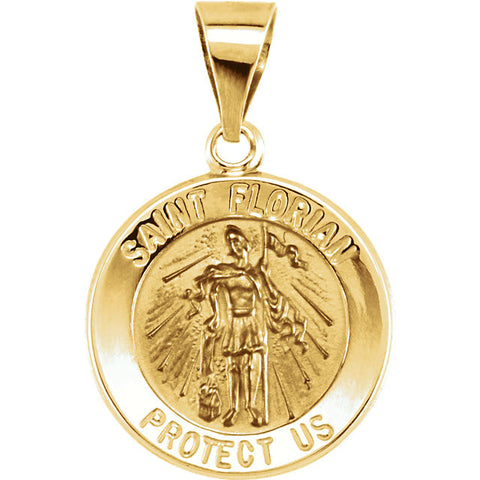 Pure 14k Yellow Gold St. Florian (Patron Saint of Firefighters) Pendant Medal - 18.25MM