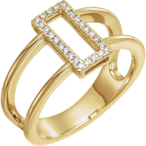 Geometric .10 Ctw Diamond Ring with Pure 14k Yellow Gold