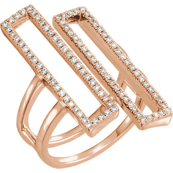 1/2 Ctw Diamond Geometric Double Rectangle Ring in 14k Rose Gold