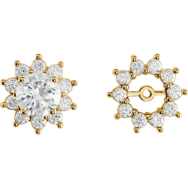 14K Yellow Gold .75 Carat Diamond Earring Jackets