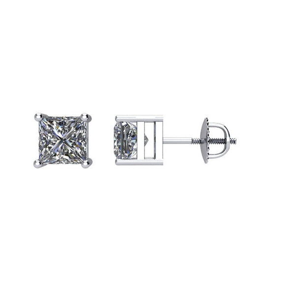(1.00 Carat) Diamond Princess Cut Stud Earrings in White Gold - Color: G, Clarity: I1