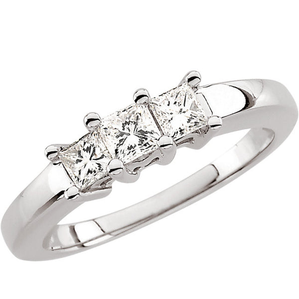 (0.65 Carat) 14K White Gold Three Princess Cut Diamond Anniversary Band, Engagement, Wedding Ring (Color: H, Clarity: SI)
