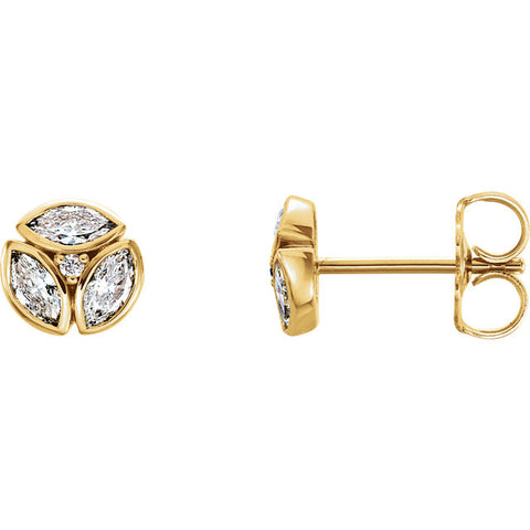 Pure 14K Yellow Gold 1/2 (.50) CTW Diamond Earrings