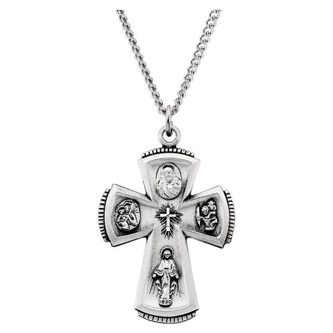 "Sterling Silver 31.5x21.25mm 4-Way Cross 24"" Necklace"