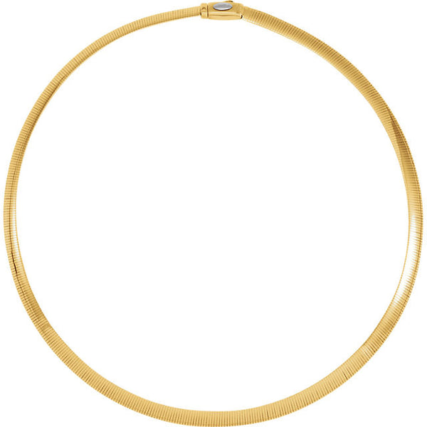 "14K Yellow & White Gold Reversible Omega Necklace (18"") (6MM)"