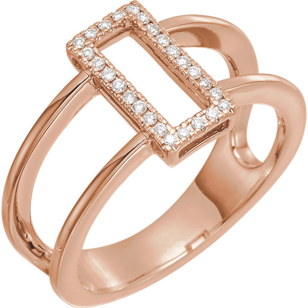 Geometric .10 Ctw Diamond Ring with Pure 14k Rose Gold