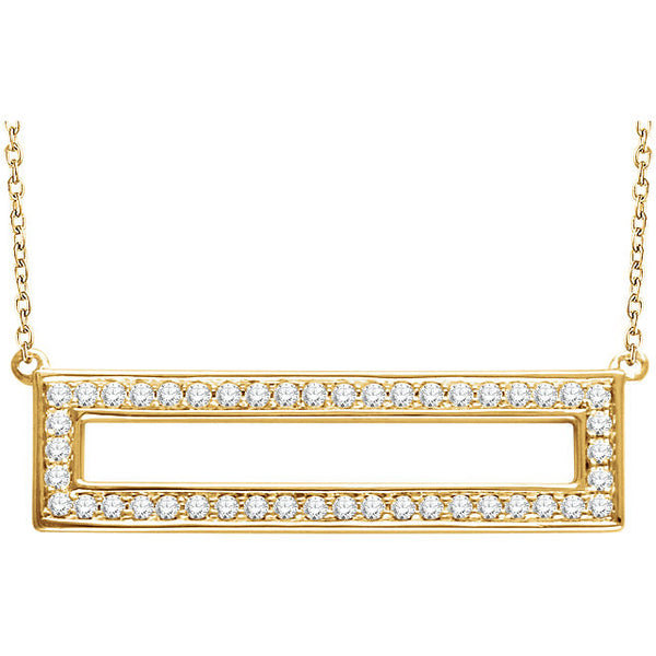 3/8 Ctw Diamond Rectangle 14k Yellow Gold Necklace