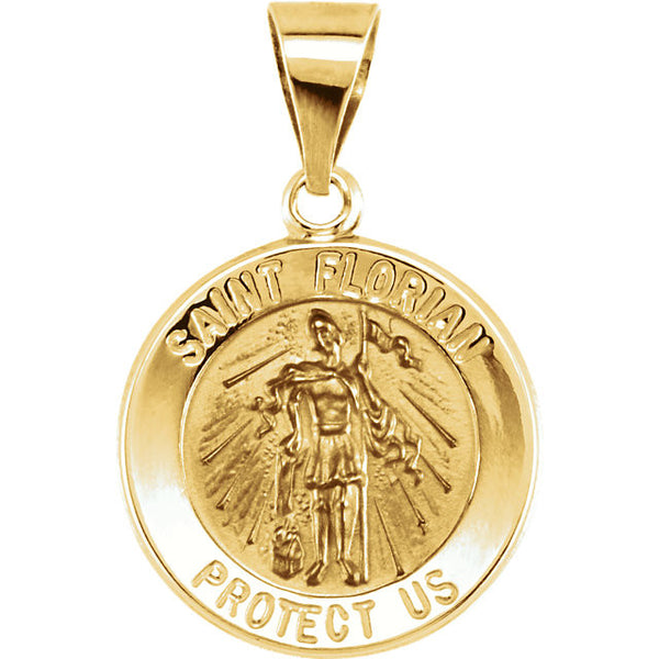 Pure 14k Yellow Gold St. Florian (Patron Saint of Firefighters) Pendant Medal - 15MM