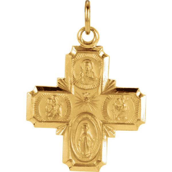 "14K Yellow Gold Four Way Cross Pendant, .75"" x .75"" (Sacred Heart of Jesus Medal, a Miraculous Medal, St. Joseph Medal and St. Christopher Medal)"