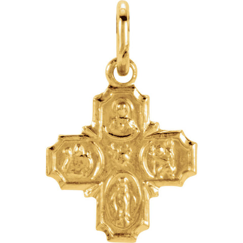 "14K Yellow Gold Four Way Cross Pendant, .3"" x .3"" (Sacred Heart of Jesus Medal, a Miraculous Medal, St. Joseph Medal and St. Christopher Medal)"