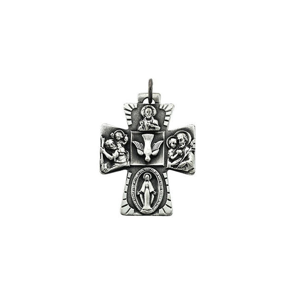 Sterling Silver Four Way Catholic Cross Pendant (28mm x 23.5mm)
