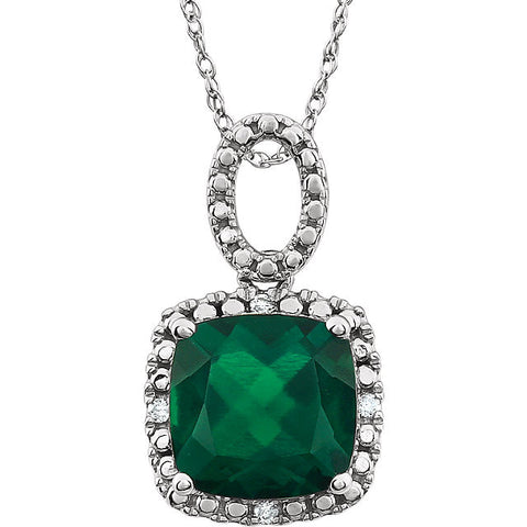 "Emerald and Diamond May Birthstone Necklace (18"" Chain Included)"