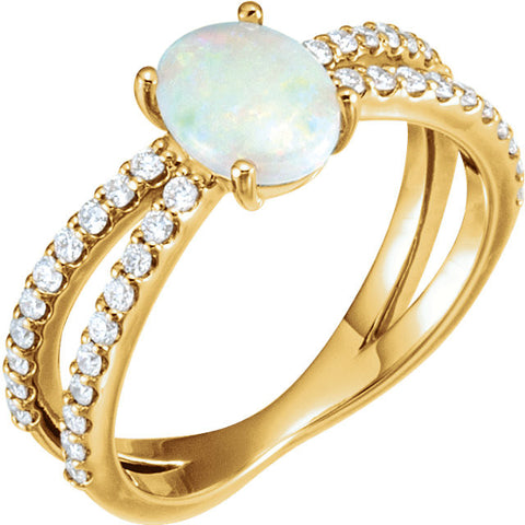 14K Yellow Gold Genuine Opal and 3/8 CTW Diamond Ring