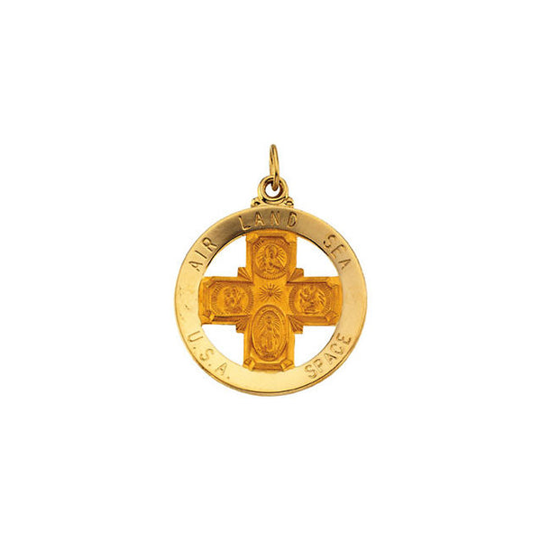 14K Yellow 25mm St. Christopher & Four-Way Cross Medal