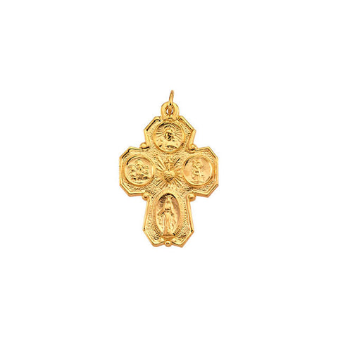 "14K Yellow Gold 28x21mm Four-Way Catholic Cross Medal (Over 1"" Tall)"