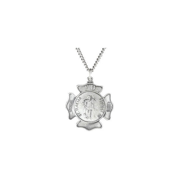 "14k Solid Sterling Silver St. Florian Medal Pendant (16.75MM) - The Saint of Firefighters (18"" chain length)"