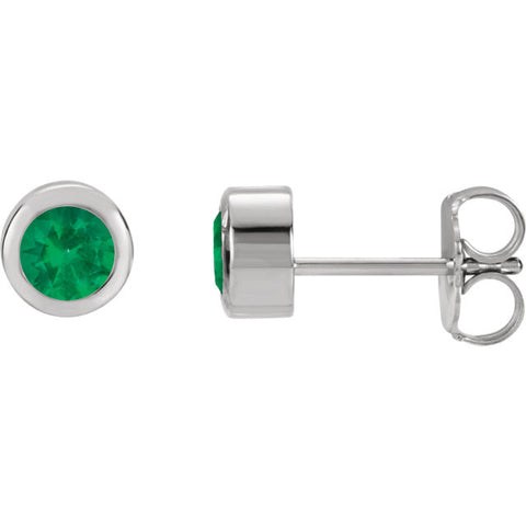 May Birthstone Emerald Sterling Silver Stud Earrings (Imitation Emerald)