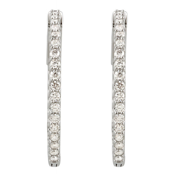 "(1 Carat) Diamond Hoop Earrings in 14K White Gold (Color: H, Clarity: I1) (1"" diameter)"