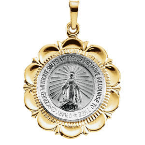 14K Pure White Gold & Yellow Gold 25x21mm Miraculous Medal