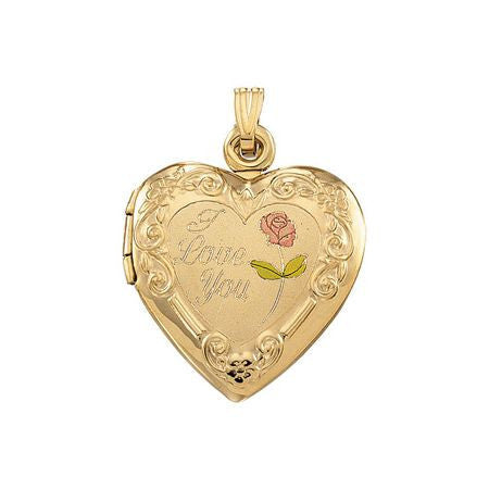"14K Yellow Gold Heart Locket Pendant ""I Love You"" w/ Pink, Green and White Gold Detail--holds 2 photos"