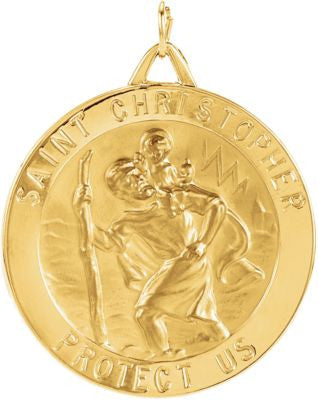 14K Yellow Gold 33mm St. Christopher Medal