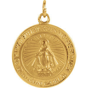 "14K Pure Yellow Gold 14.75mm Miraculous Medal (5/9"")"
