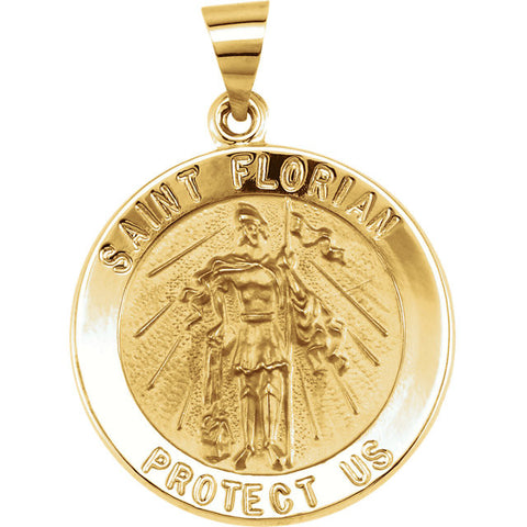 Pure 14k Yellow Gold St. Florian (Patron Saint of Firefighters) Pendant Medal - 21.8MM