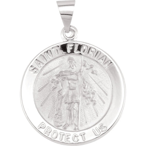 Pure 14k White Gold St. Florian (Patron Saint of Firefighters) Pendant Medal - 21.8MM