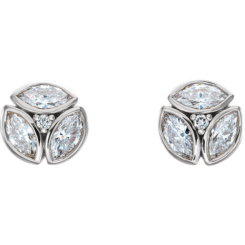 Pure 14K White Gold 1/2 (.50) CTW Diamond Earrings