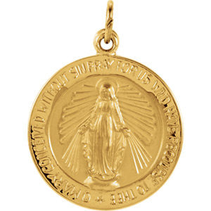 14K Pure Yellow Gold 18mm Miraculous Medal