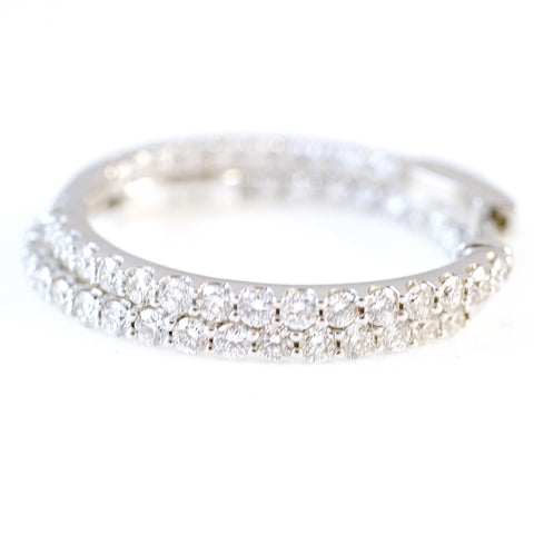 "2.00 Carat Diamond Hoop Earrings in 14k White Gold - Color: H+, Clarity: I1 (1.25"" across)"