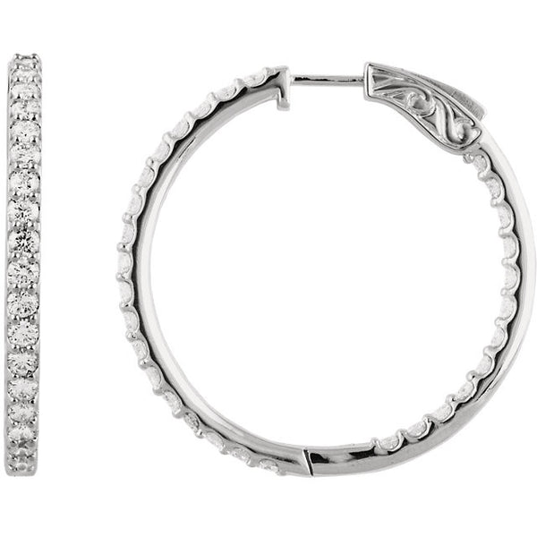 "3.00 Carat Diamond Hoop Earrings in 14k White Gold - Color: H+, Clarity: I1 (1.5"" across)"
