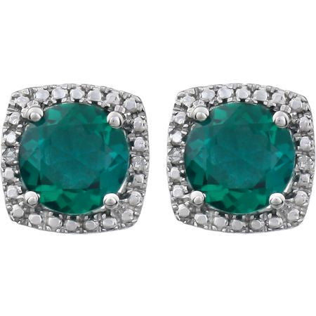 Genuine Emerald and Diamond Silver Stud Earrings