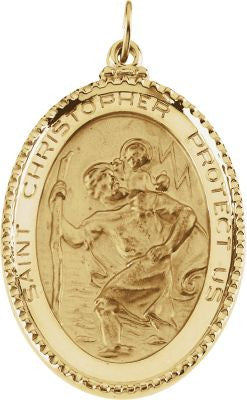 14K Yellow Gold 39x26mm St. Christopher Medal