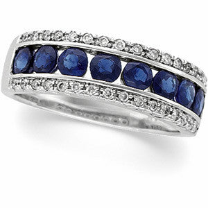(0.20 Carat) 14K White Gold Blue Sapphire + Diamond Anniversary Wedding Band