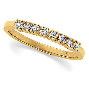 (0.16 Carat) 14K Yellow Gold Diamond Wedding Ring, Anniversary Band (Color: G/H, Clarity: SI)
